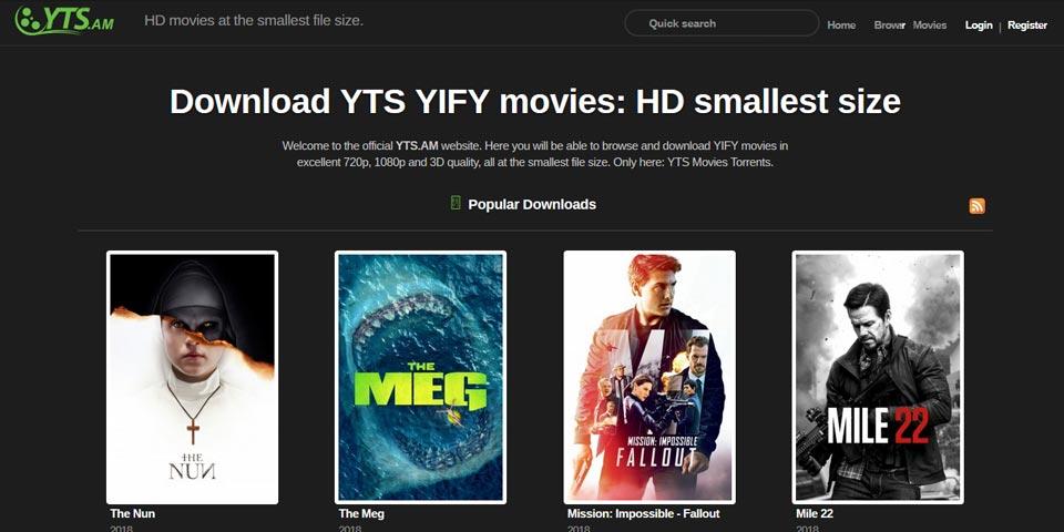 YTS: sito di download di Torrent di film e programmi TV